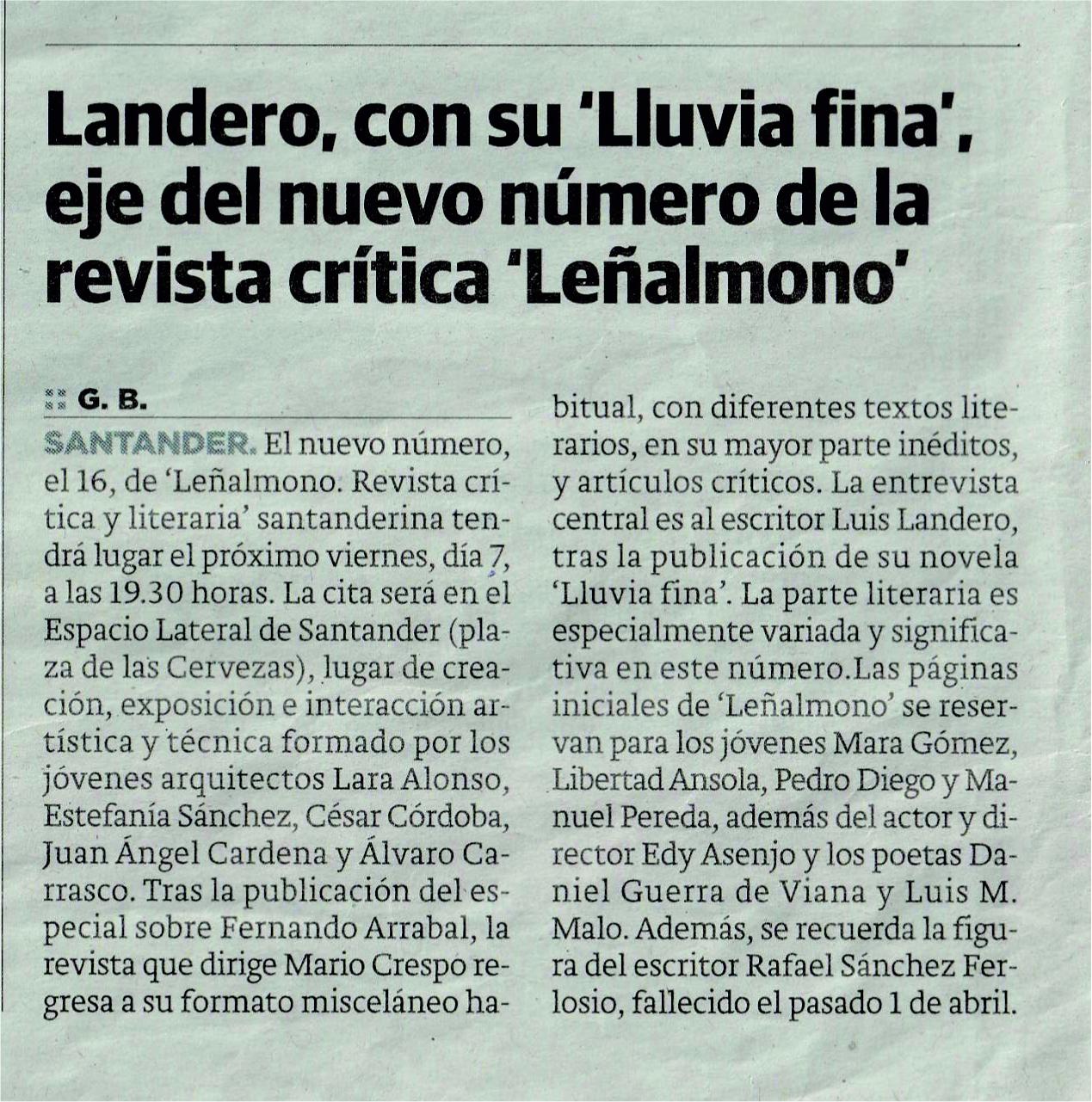 Recorte de prensa del El Diario Montañés domingo 02.06.19